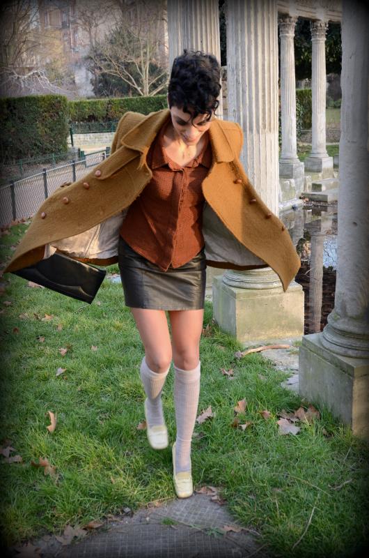 manteau Suzie Winkle, jupe cuir vintage