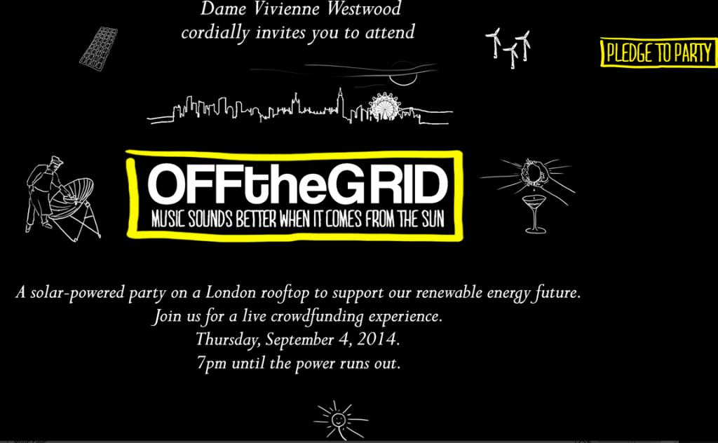 crowdfunding trillion funds energies renouvelables vivienne westwood soirée off the grid énergie solaire